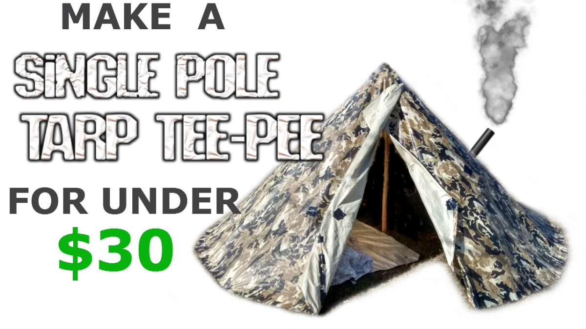 How to make a Tarp Tipi / Teepee Survival Tent Shelter - Backpacking