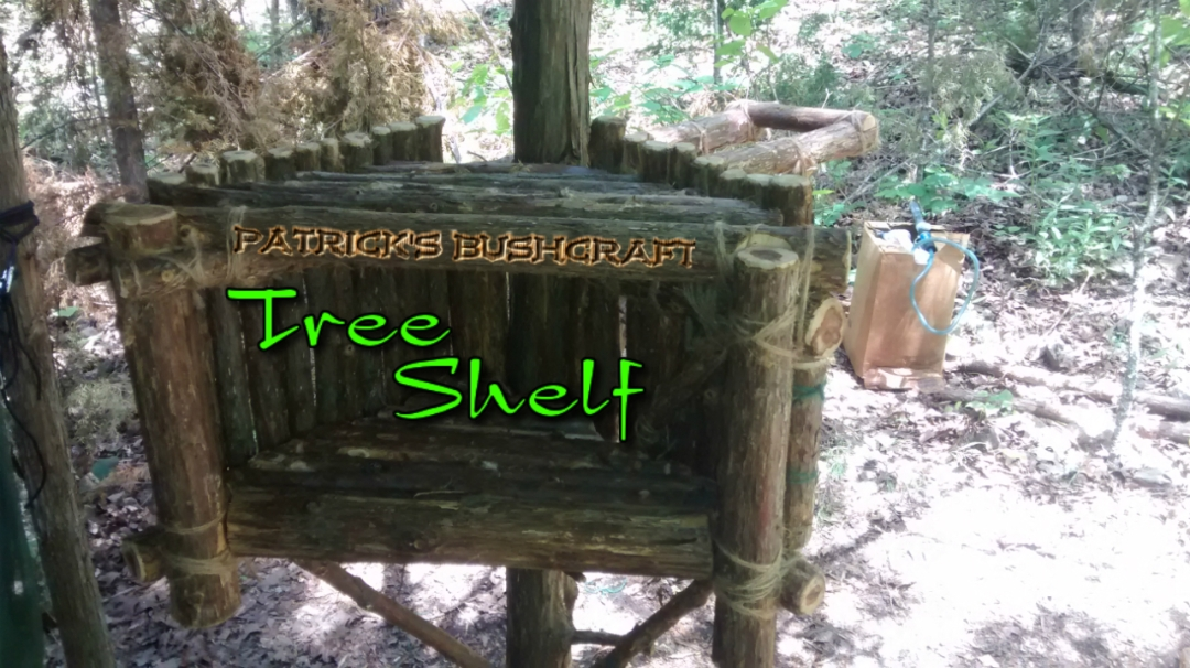 patricksbushcraft primitive wood skills tree shelf organizer technology house bushcraft